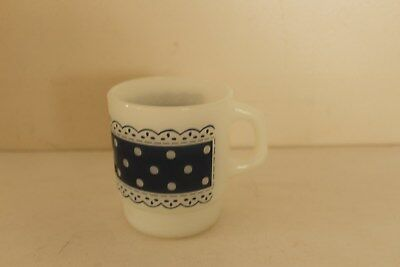 Anchor Hocking Fire King Blue Polka Dot Lace Coffee Mug Cup Stackable Stacking