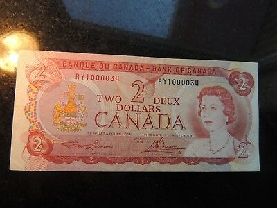 1974 Bank Of Canada $2 Two Dollars Lawson Bouey Fancy Serial Number Ry 1000034