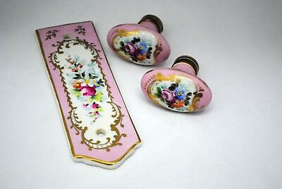 Vintage Pair of French Hand Painted Porcelain Oval Door Knobs & Push Plate