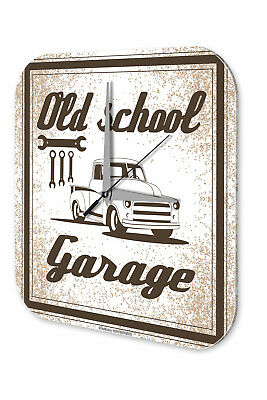 Garage Metal Wall Clock  Old School Garage Gas Stations Vintage
