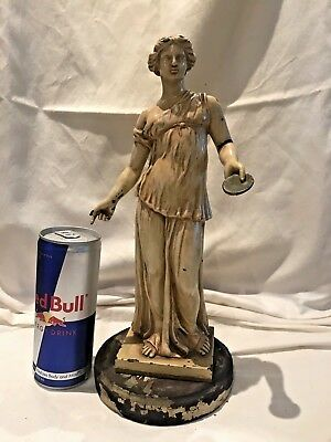 Antique Cast Iron or Metal Statue of a Roman Maiden on Wooden Base great Patina