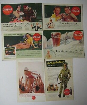 Vintage 40's Lot  COCA-COLA Print Ads National Geographic Magazine WWII Military