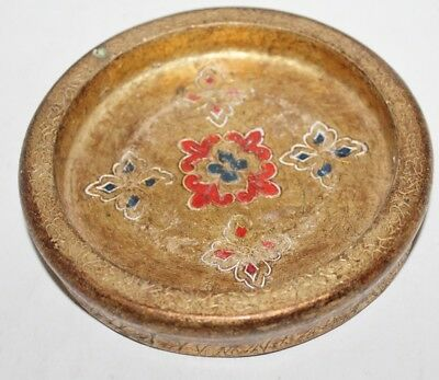 Vtg Florentia Italian  Round Ashtray, Small Tray - 5 1/2""