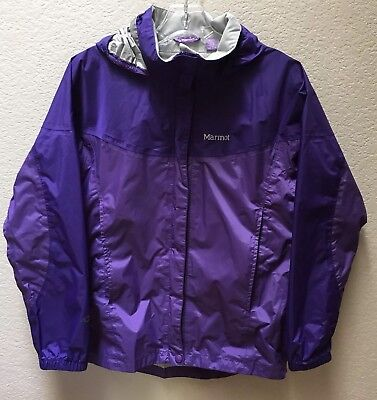 Marmot Precip Rain Wind Jacket Girls XL Nylon Hide Away Hood Purple