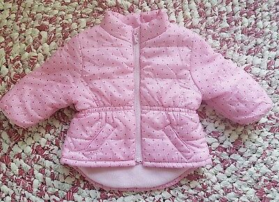 mix baby girl pink polka dot puffer jacket 00 (3-6 months)
