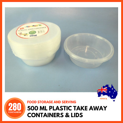 280 x PLASTIC TAKE AWAY CONTAINERS & LIDS Disposable Freezer Safe Meal Prep BULK