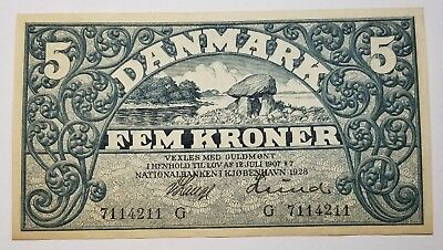 1928 G Denmark 5 FEM Kroner Note Beautiful Pick 20 o