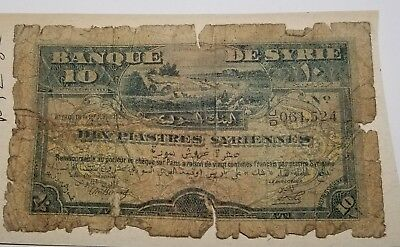 1920 Syria 10 Piastres Paper Currency Note