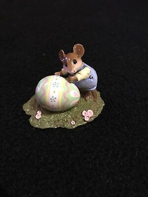 Wee Forest Folk Egg Roll M-313s Mouse with Giant Easter Egg