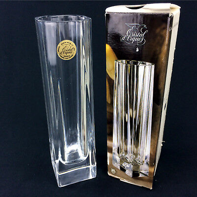 """Cristal D'Arques Crystal Vase Beaubourg 7 3/4"""" Clear Square Circle Art Glass"""