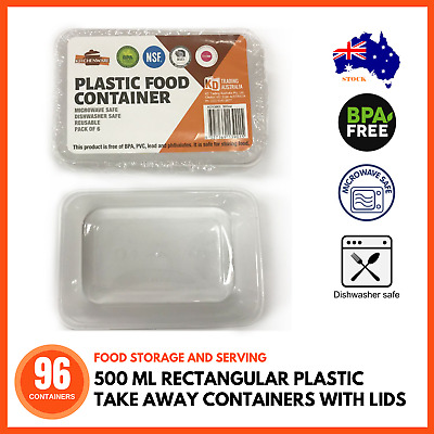 96 x 500 ML PLASTIC TAKE AWAY CONTAINERS & LIDS RECTANGLE BULK Disposable