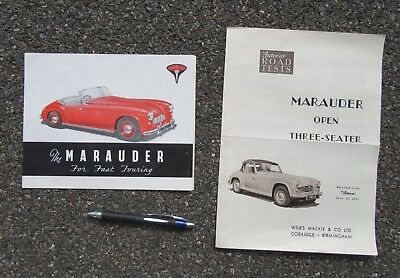 WILKS, MACKIE & CO. MARAUDER ADVERTISING BROCHURE & ROAD TEST REVIEW 1950s