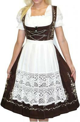 Dirndl Oktoberfest German Dress LONG 3 pcs Renaissance Waitress EMBROIDERY Dress