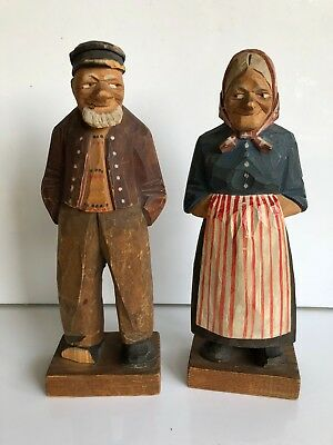 "Vintage Hand Carved Figurine Woman and Man, ""Bigger People"" Signed L. Larsson"