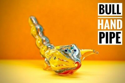"4"" BULL Collectible SWIRL TOBACCO Smoking Pipe Herb bowl Glass Hand Pipe"