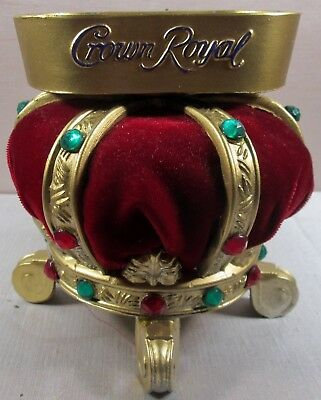 Vintage Crown Royal Jeweled Crown  & Wine Color Velvet Advertising Display