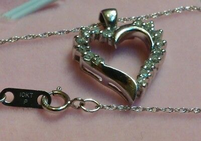Diamond Heart Pendant -10K Solid White Gold - .42(Tcw)