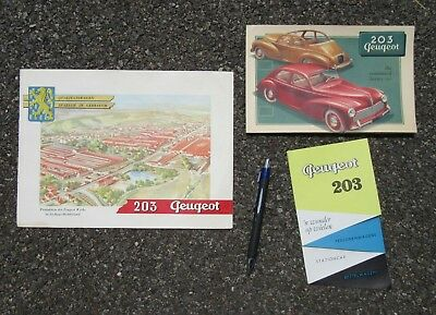 VINTAGE 203 PEUGEOT AUTOMOBILE ADVERTISING BROCHURE LOT OF 3 (2 IN GERMAN) 1950s