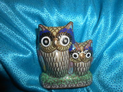 Owl Figurine Miniature Curio Gold Colorful Blue Green Asian Mother and baby Cute