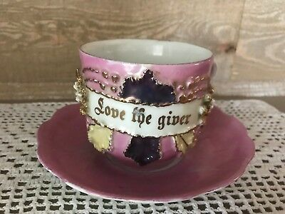 Love The Giver Hand Painted Tea Cup and Saucer Germany Vintage
