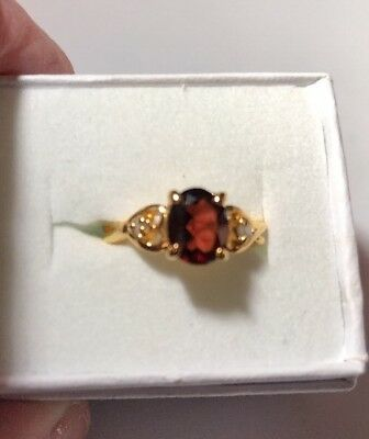 Stunning Ring Size 3 Gold Plated lind  Red Stone Vintage/Modern  Estate Jewelry