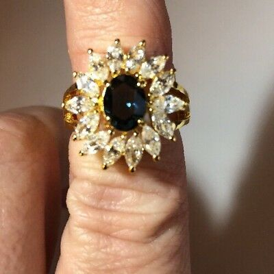 Stunning Ring Size 5 14 K Gold Plated Vintage To Modern  Estate Jewelry