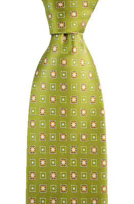 "Mens BRIONI Italy Olive Geometric Florets Woven 3.25"" 100% Silk Neck Tie NWT!"