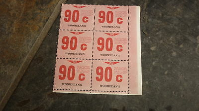 OLD VR VICTORIAN RAILWAY MINT PARCEL STAMPS, BLOCK OF 6, WOOMELANG 90c