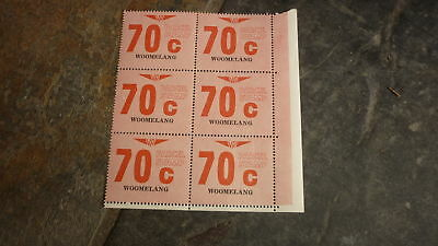 OLD VR VICTORIAN RAILWAY MINT PARCEL STAMPS, BLOCK OF 6, WOOMELANG 70c