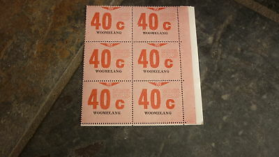 OLD VR VICTORIAN RAILWAY MINT PARCEL STAMPS, BLOCK OF 6, WOOMELANG 40c
