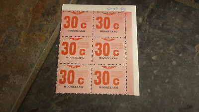 OLD VR VICTORIAN RAILWAY MINT PARCEL STAMPS, BLOCK OF 6, WOOMELANG 30c