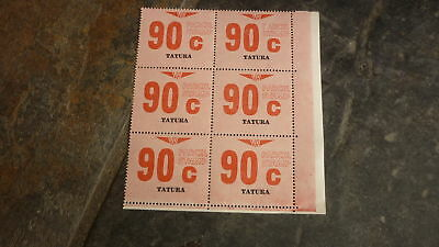 OLD VR VICTORIAN RAILWAY MINT PARCEL STAMPS, BLOCK OF 6, TATURA VICTORIA 90c