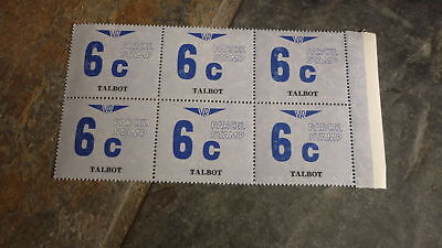 OLD VR VICTORIAN RAILWAY MINT PARCEL STAMPS, BLOCK OF 6, TALBOT VICTORIA 6c