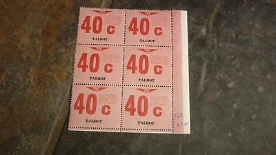 OLD VR VICTORIAN RAILWAY MINT PARCEL STAMPS, BLOCK OF 6, TALBOT VICTORIA 40c