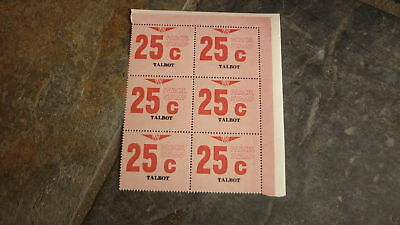 OLD VR VICTORIAN RAILWAY MINT PARCEL STAMPS, BLOCK OF 6, TALBOT VICTORIA 25c