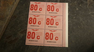 OLD VR VICTORIAN RAILWAY MINT PARCEL STAMPS, BLOCK OF 6, ROBINVALE 80c