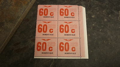 OLD VR VICTORIAN RAILWAY MINT PARCEL STAMPS, BLOCK OF 6, ROBINVALE 60c
