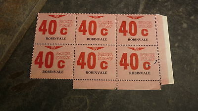 OLD VR VICTORIAN RAILWAY MINT PARCEL STAMPS, BLOCK OF 6, ROBINVALE 40c