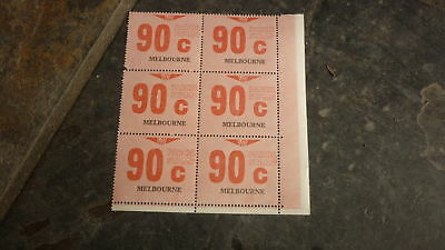 OLD VR VICTORIAN RAILWAY MINT PARCEL STAMPS, BLOCK OF 6, MELBOURNE 90c