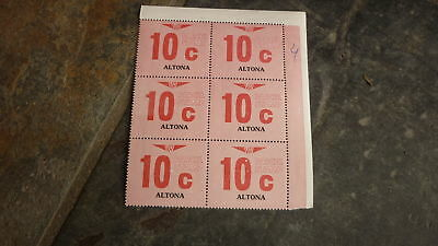 OLD VR VICTORIAN RAILWAY MINT PARCEL STAMPS, BLOCK OF 6, ALTONA 10c