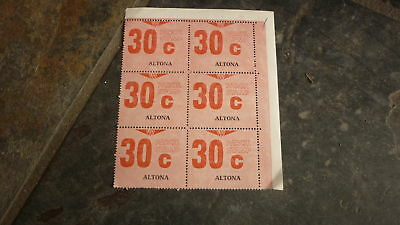 OLD VR VICTORIAN RAILWAY MINT PARCEL STAMPS, BLOCK OF 6, ALTONA 30c