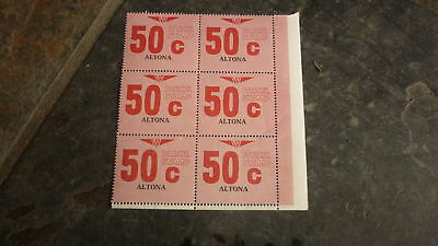 OLD VR VICTORIAN RAILWAY MINT PARCEL STAMPS, BLOCK OF 6, ALTONA 50c