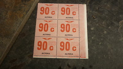 OLD VR VICTORIAN RAILWAY MINT PARCEL STAMPS, BLOCK OF 6, ALTONA 90c