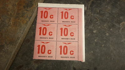 OLD VR VICTORIAN RAILWAY MINT PARCEL STAMPS, BLOCK OF 6, DIGGERS REST 10c