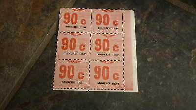 OLD VR VICTORIAN RAILWAY MINT PARCEL STAMPS, BLOCK OF 6, DIGGERS REST 90c