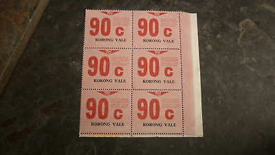OLD VR VICTORIAN RAILWAY MINT PARCEL STAMPS, BLOCK OF 6, KORONG VALE 90c