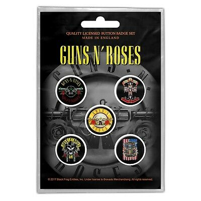 Guns N Roses Bullet Logo Button Badge Pack Hard Rock Metal Badges Official