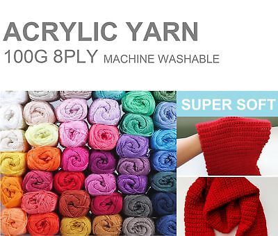 5-6 x KNITTING WOOL Super Soft Acrylic Crochet Ball Yarn 100g 8Ply BULK