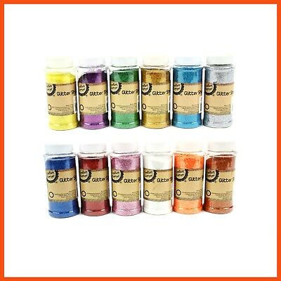 12 x COLOURED GLITTER SHAKERS For Kraft Craft Scrapbooking Card Making Nail Art