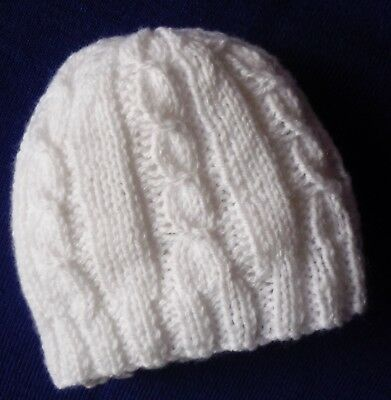 Newborn Baby Beanie. Extra Soft. White. Boy Or Girl Baby. Hand-Knitted By Me.